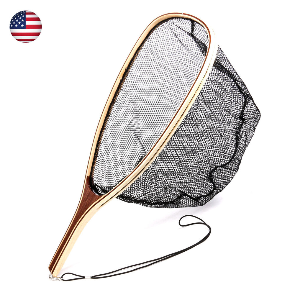 Fly fishing landing net wooden handle mesh net fishing for Fly fish usa