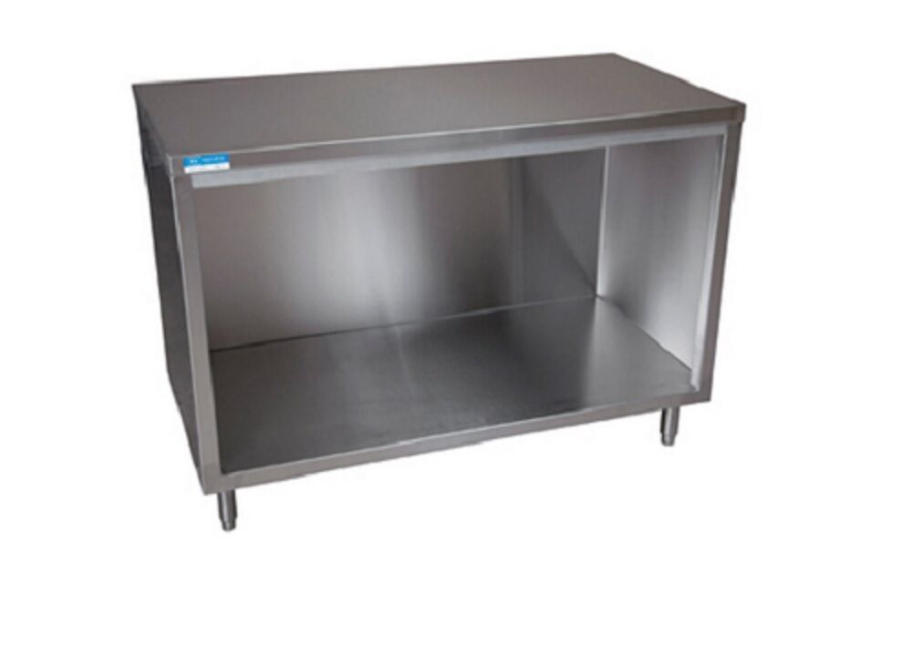 Stainless steel enclosed cabinet base work table 72 x for Stainless steel kitchen base cabinets