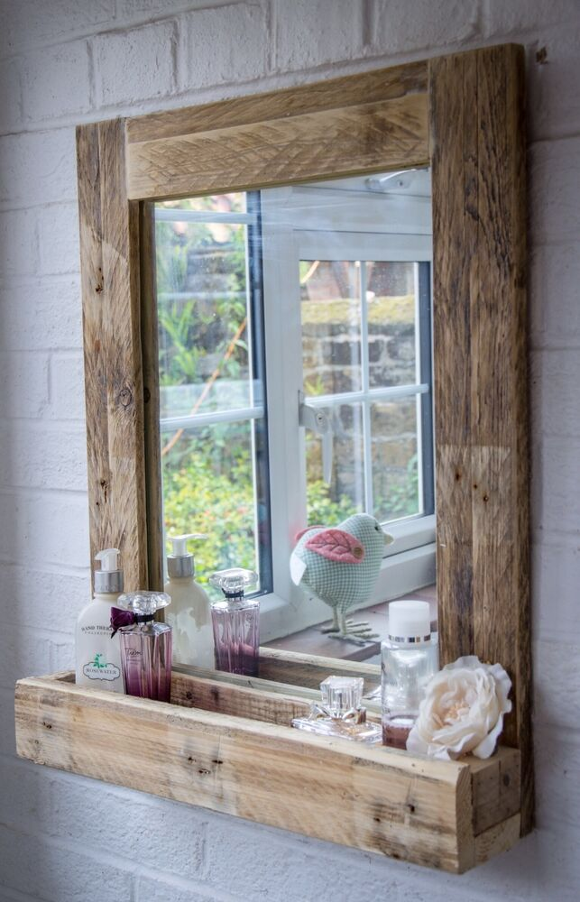 Rustic bathroom mirror with shelf made from reclaimed pallet wood ebay for Wooden bathroom mirror with shelf