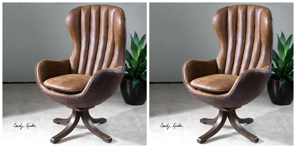 Two Mid Century Design Swivel High Back Accent Club Chair