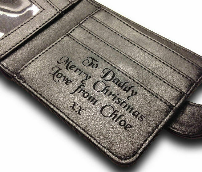 Gents Personalised Engraved Luxury Mens Leather Wallet Birthday Gift
