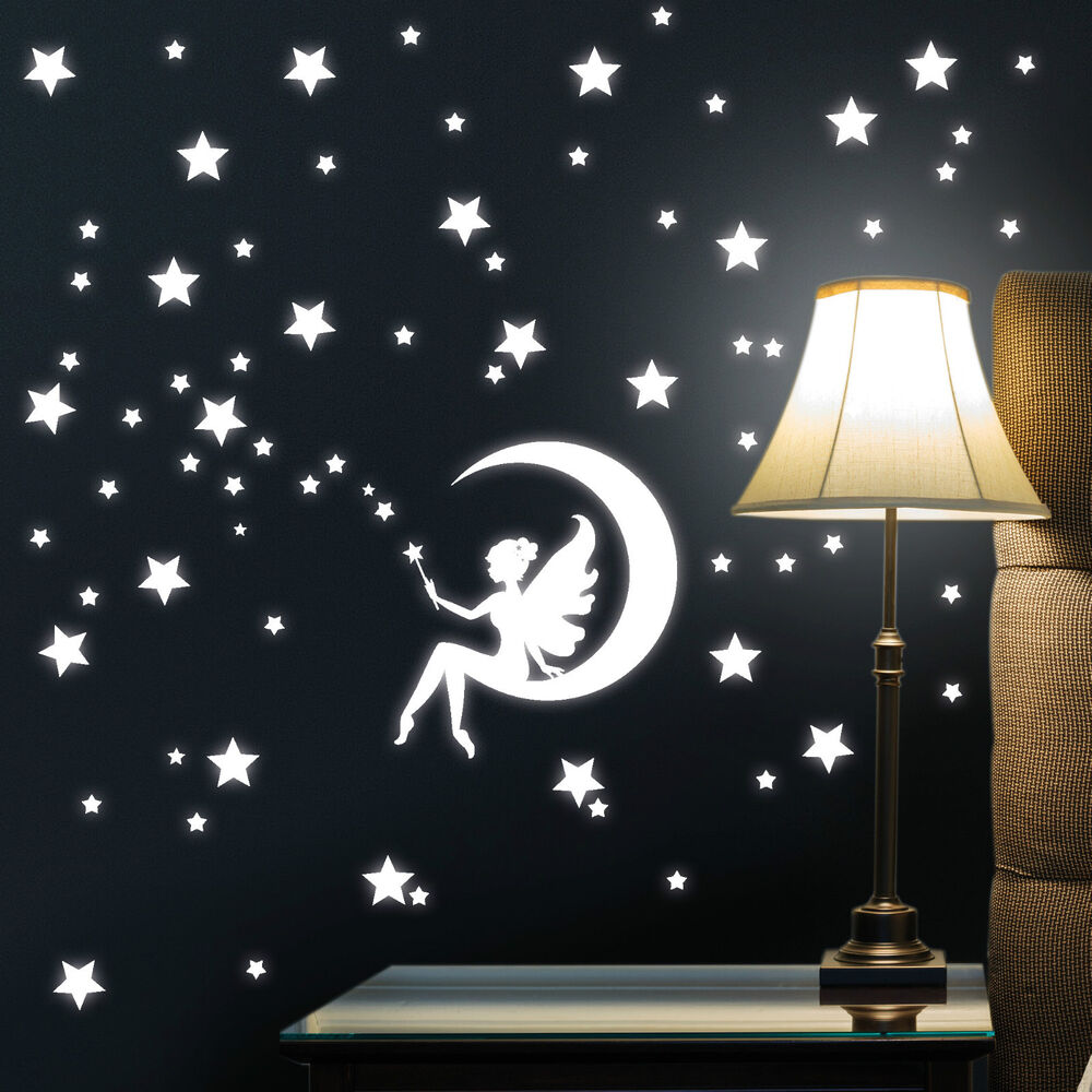 10926 wandtattoo fee mond mit sternen leuchtend fluoreszierend sternenhimmel ebay. Black Bedroom Furniture Sets. Home Design Ideas