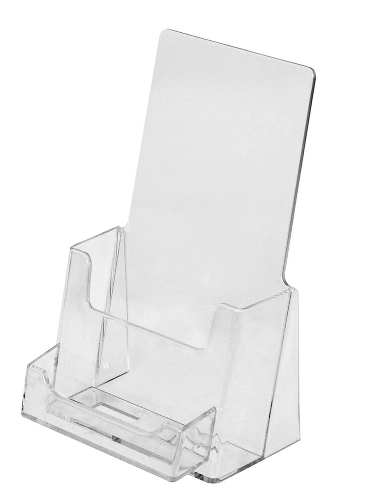 Clear acrylic tri fold brochure holder with business card for Lucite business card holder