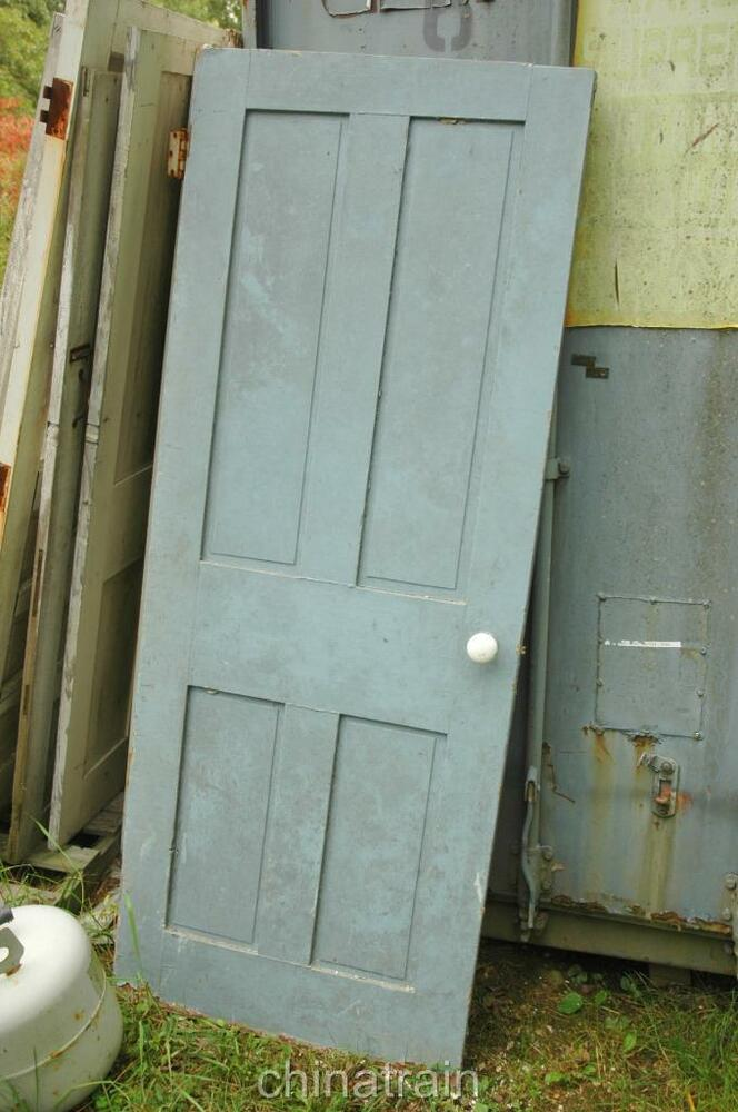 Antique Vintage 1850s Solid Wood 4 Panel House Door 77 X