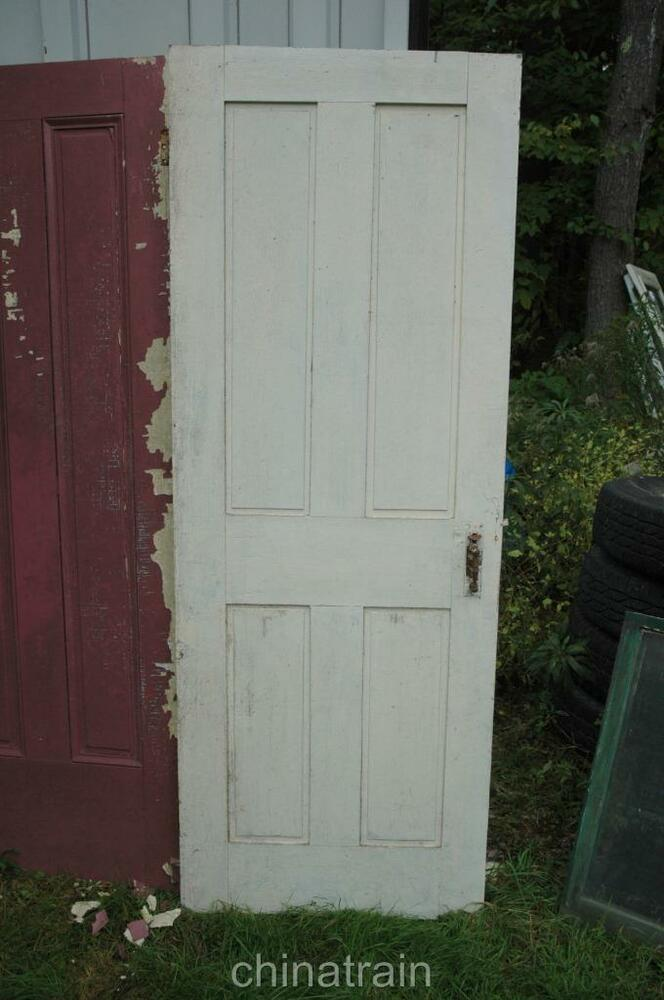 Antique vintage 1850s solid wood 4 panel house door 76 5 x for Vintage solid wood doors