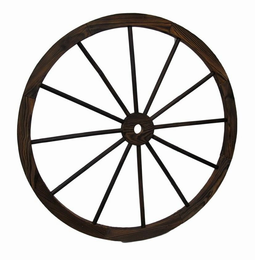 Wagon wheel 32 wooden large decorative home garden yard for Garden rooms on wheels
