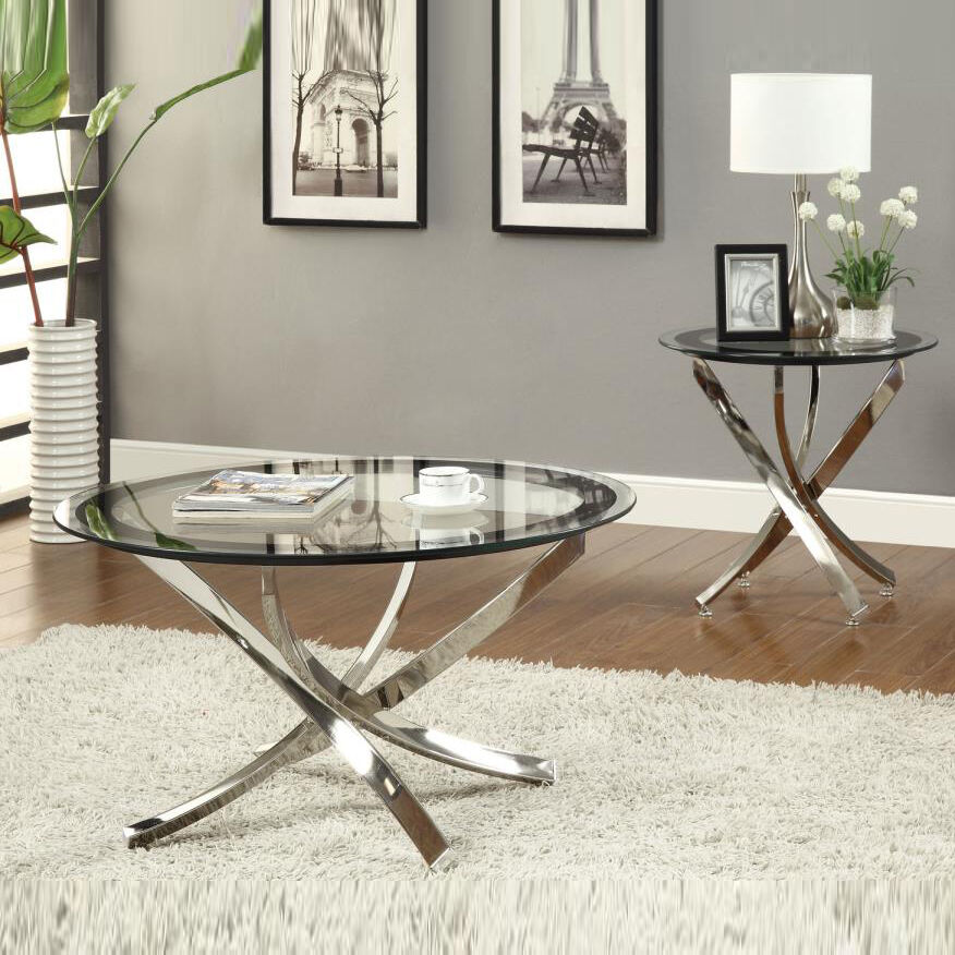Nickel round tempered glass top chrome legs cocktail for Glass end tables