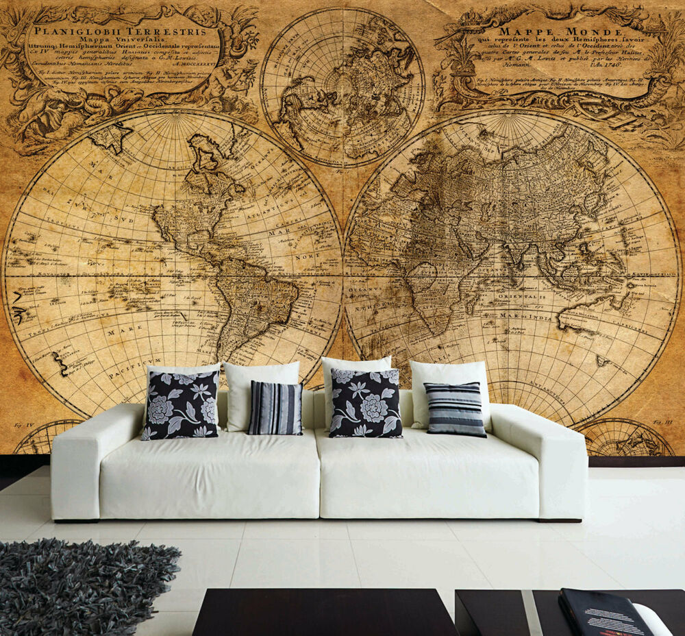 Wall removable sticker old vintage golden world map vinyl