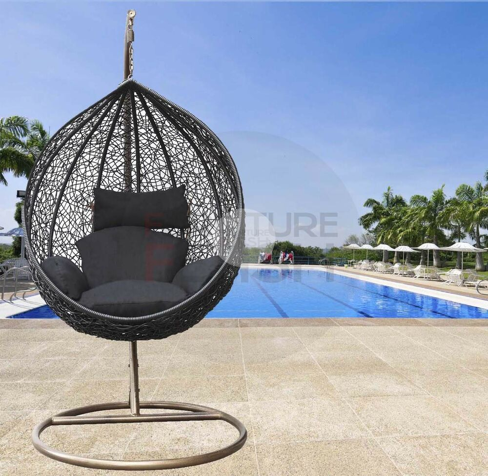 hanging egg chair rattan wicker outdoor furniture black free pickup gold coast ebay. Black Bedroom Furniture Sets. Home Design Ideas