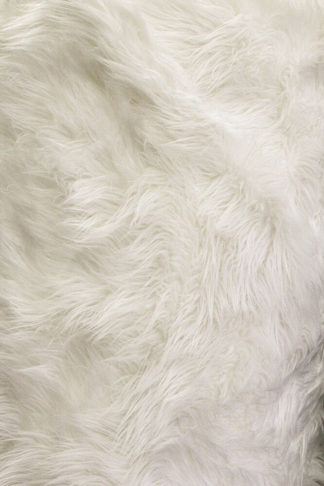 solid shaggy faux fur fabric 60 off white long pile mongolian sold by the yard ebay. Black Bedroom Furniture Sets. Home Design Ideas