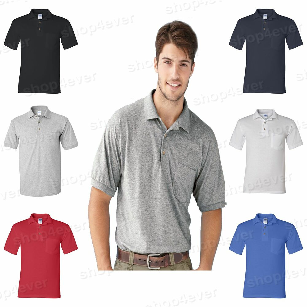 Gildan dryblend mens polo sport shirt with a pocket jersey for Men s athletic polo shirts