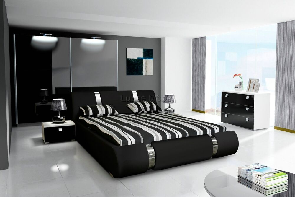 komplett schlafzimmer hochglanz schwarz kleiderschrank. Black Bedroom Furniture Sets. Home Design Ideas