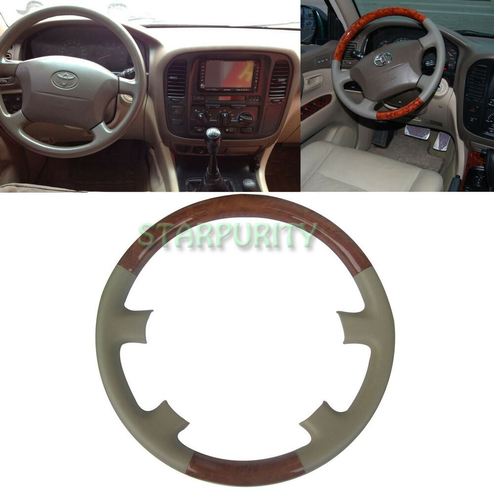 Tan Leather Wood Steering Wheel Cover 98 02 Toyota Land