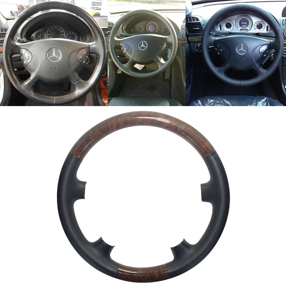 Black leather wood steering wheel cover cap for 02 05 for Mercedes benz steering wheel cover