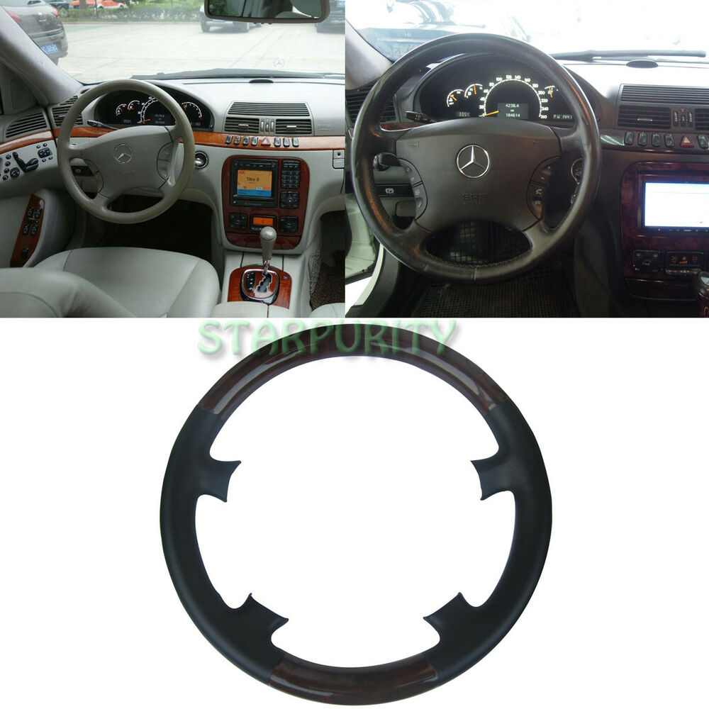 Black leather wood steering wheel cover mercedes benz w220 for Mercedes benz steering wheel cover