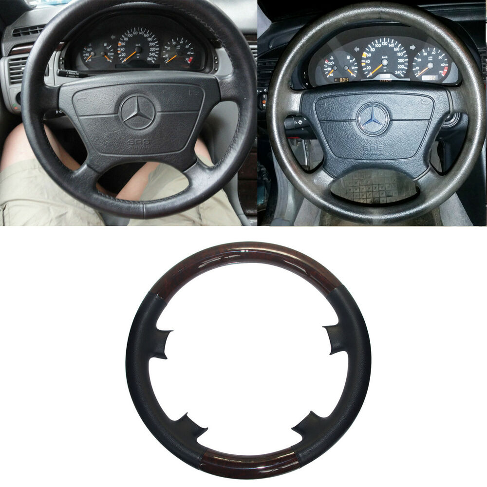 black leather wood steering wheel cover cap for mercedes