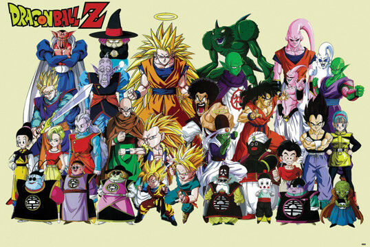 Z Characters Anime : Dragon ball z characters poster print anime super