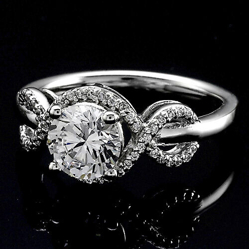 82 CT ROUND CUT DIAMOND HALO ENGAGEMENT RING 14K WHITE GOLD