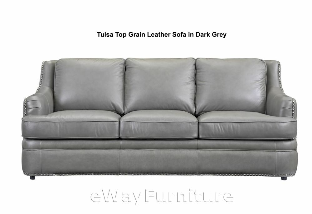 Great buy tulsa dark grey top grain leather sofa living for Best place to buy a leather sofa