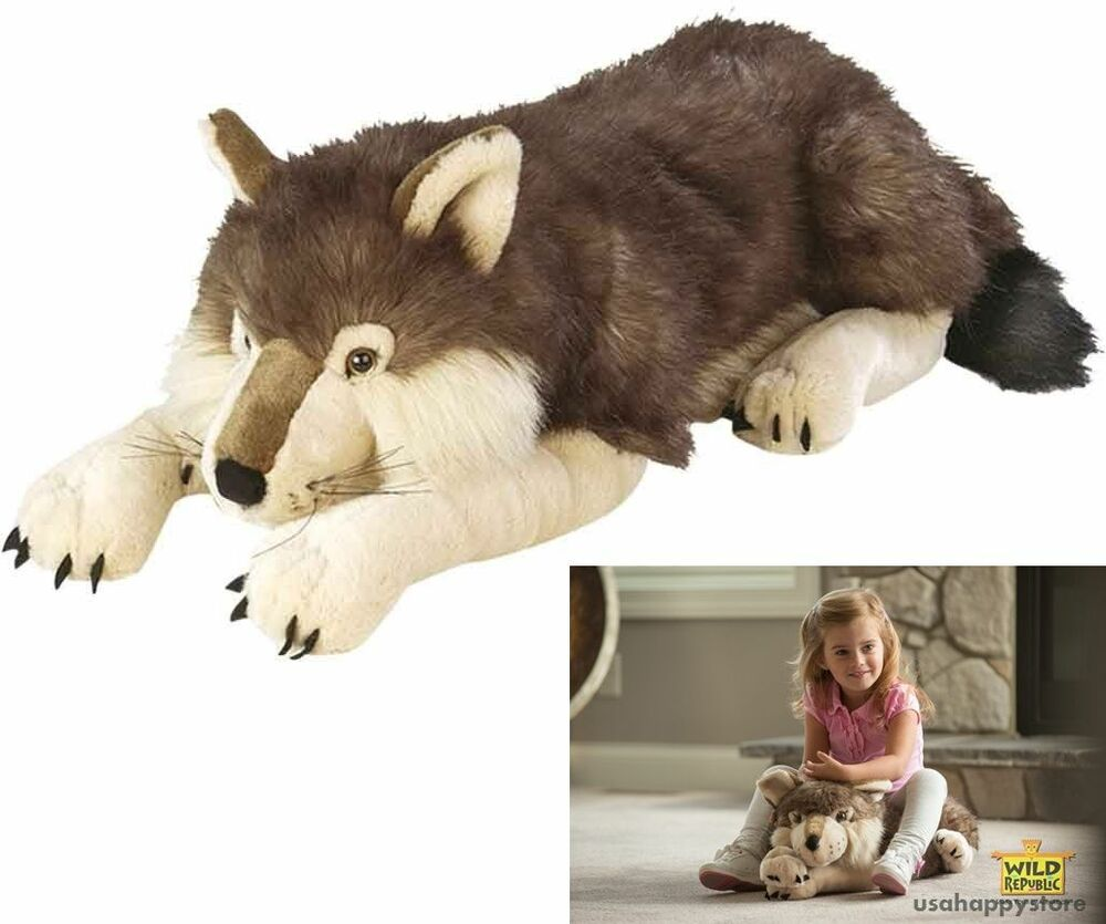 Toys For Animals : Wolf plush toy stuffed animal doll realistic dog inch