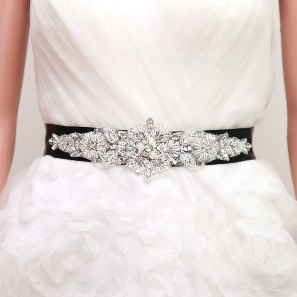 Bridal wedding snowflake pearl rhinestone crystal ribbon for Satin belt for wedding dress