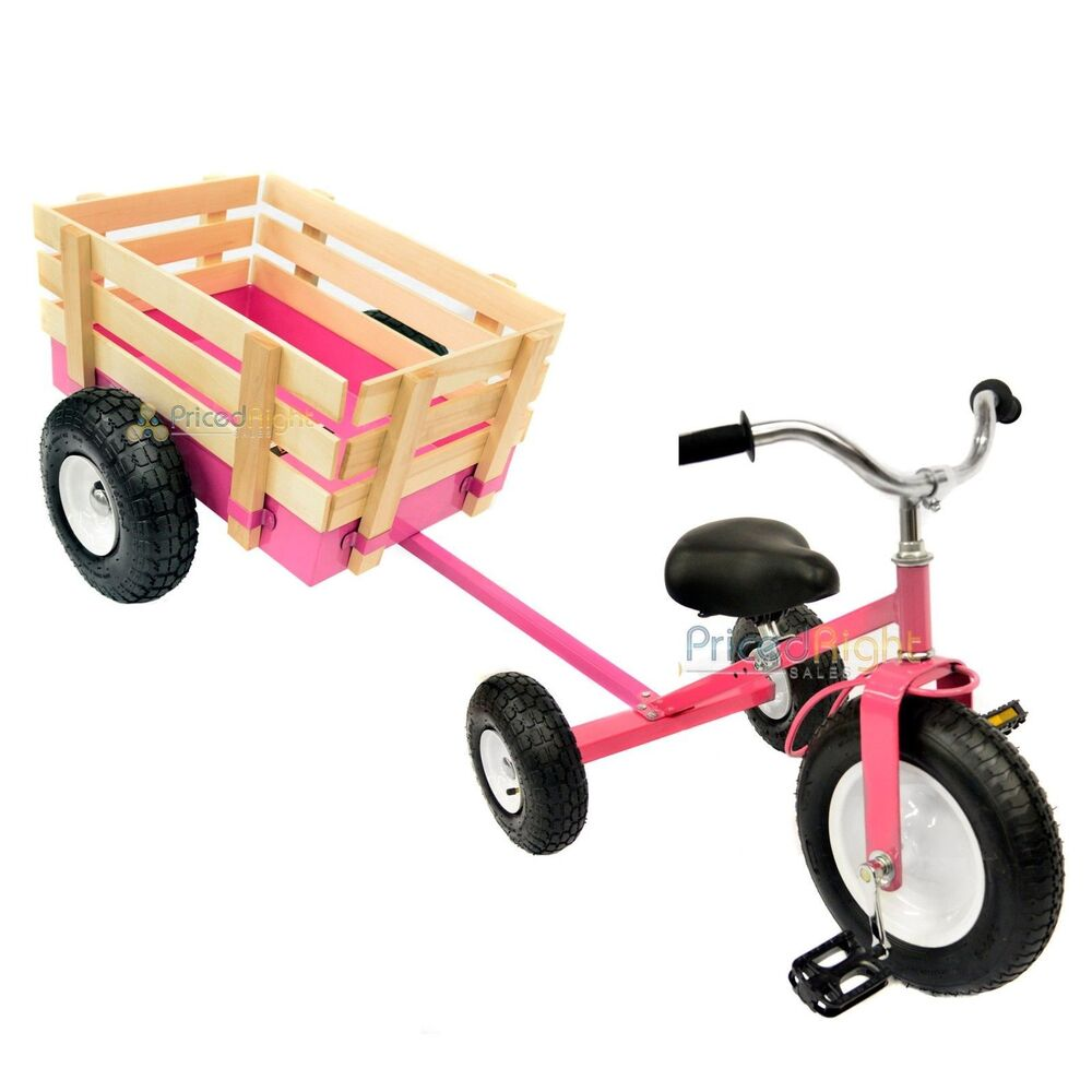 Toys For Exercise : Pink tricycle with wagon set pull along trike toy outdoors