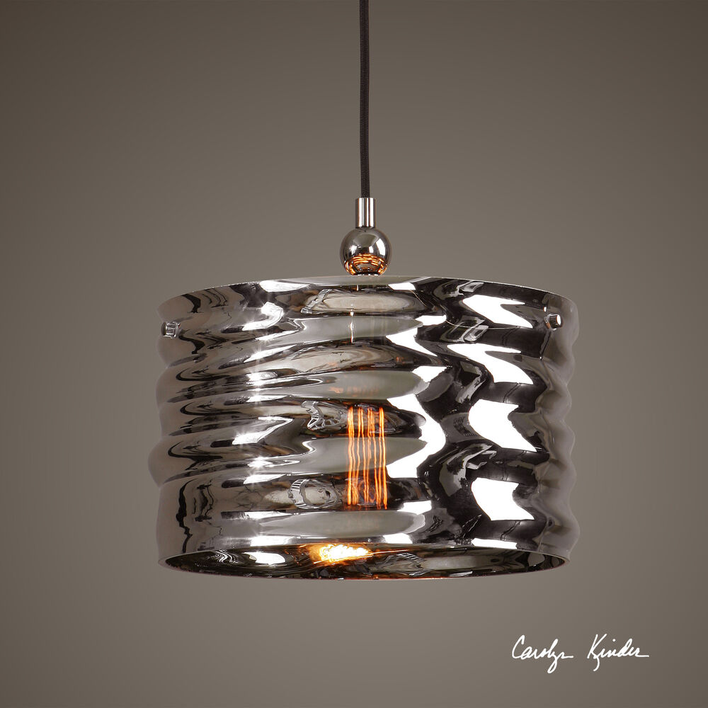 Hanging Light Fixture Replacement Glass: PLATED NICKEL BLOWN ART GLASS HANGING PENDANT CEILING