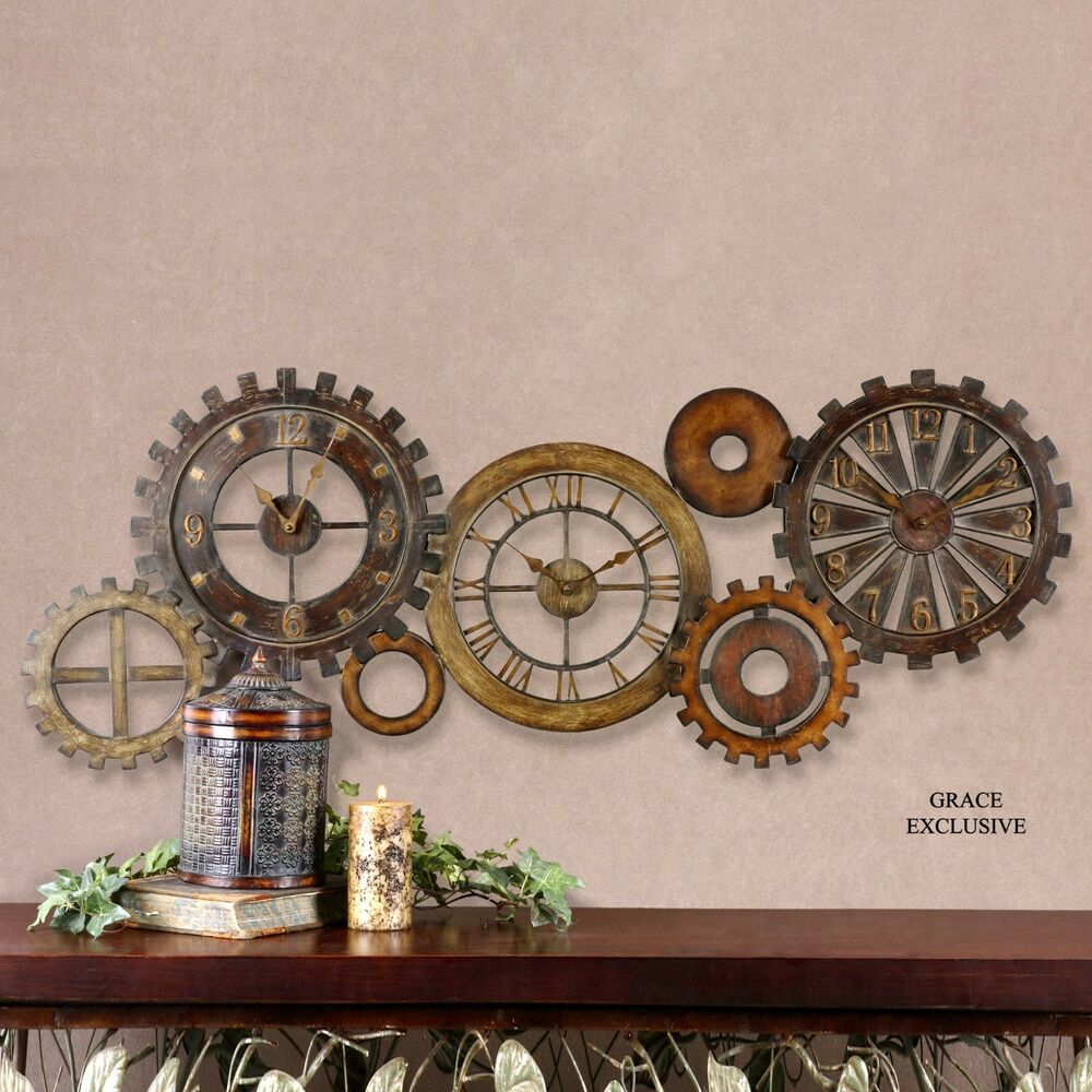 54 Quot Antiqued Metal Wall Clock Collage Three Clocks In One