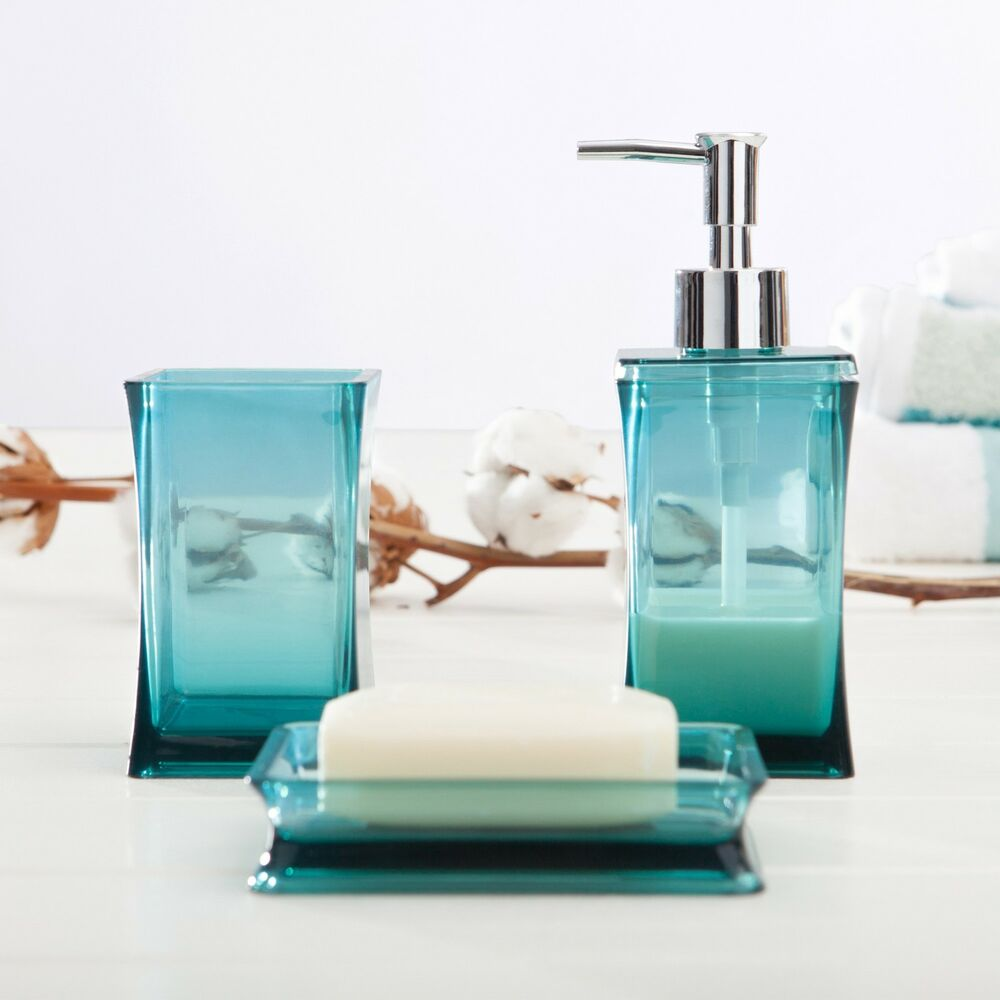 3 piece bathroom set soap dish and dispenser toothbrush holder aqua blue ebay - Bathroom soap dish sets ...