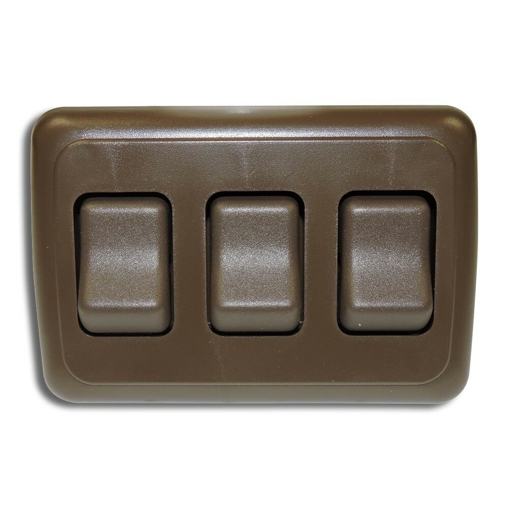 Triple 3 Gang On Off 12 Volt Brown Light Switch Rv