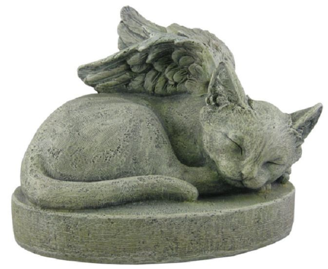 Cat angel memorial statue sympathy pet stone sculpture