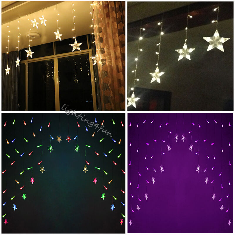 stars icicle snowfall window display curtain outdoor. Black Bedroom Furniture Sets. Home Design Ideas