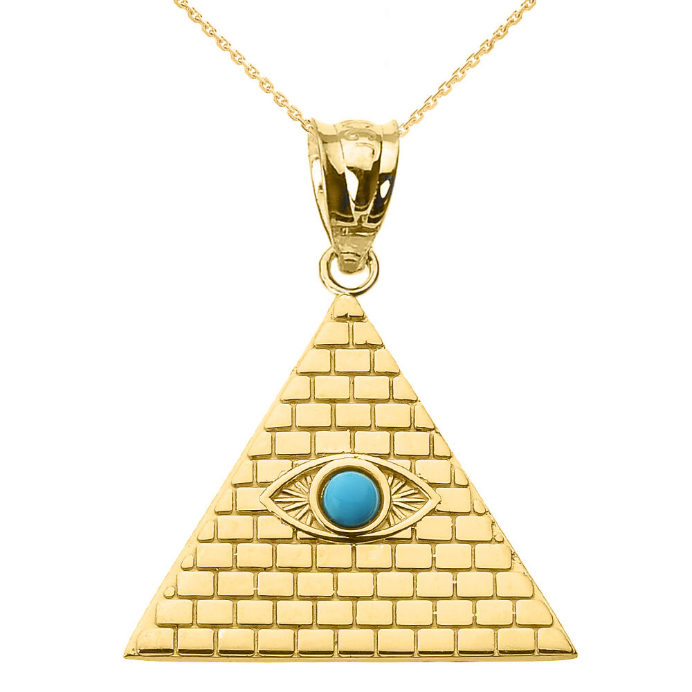 Yellow Gold Egyptian Pyramid With Turquoise Evil Eye