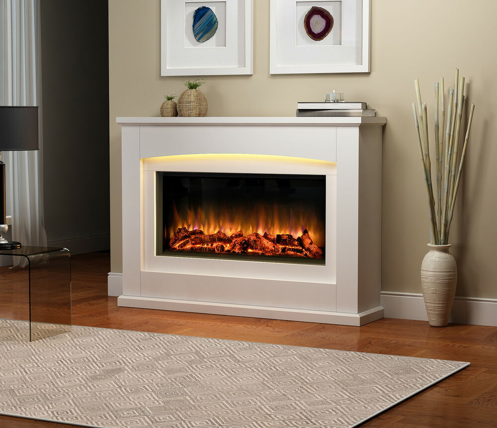 Endeavour fires danby electric fireplace in a light cream mdf fire suite ebay - Choosing the right white electric fireplace for you ...
