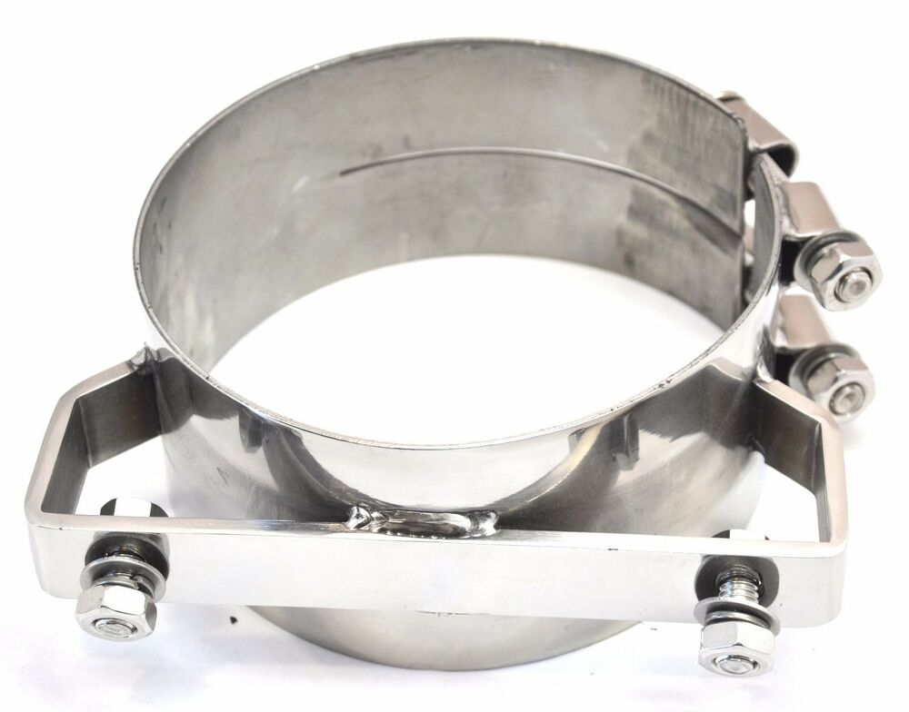 Exhaust Band Clamp Bracket Wide 304 Stainless Steel For 6