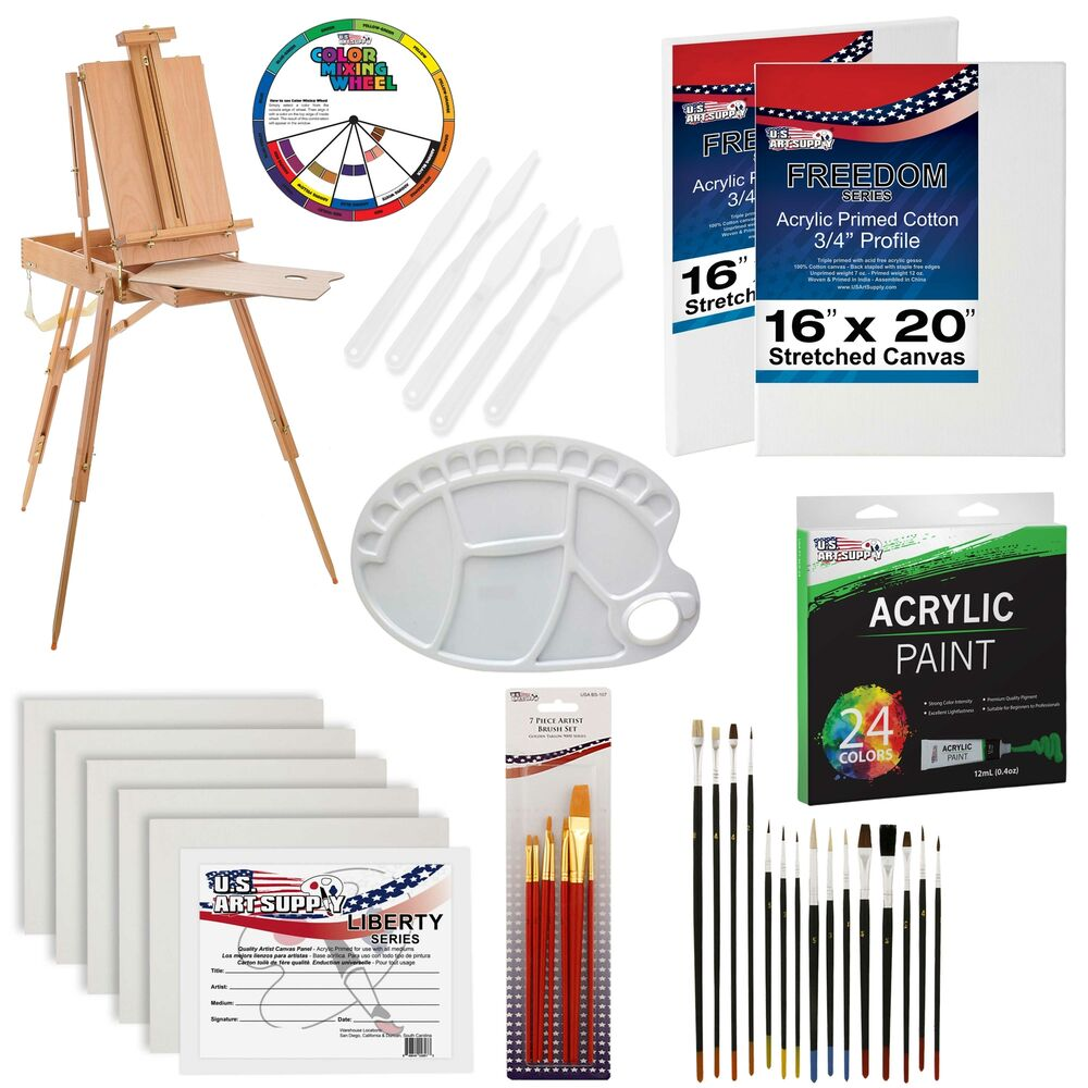 62 piece artist acrylic painting kit w french easel for Canvas painting supplies