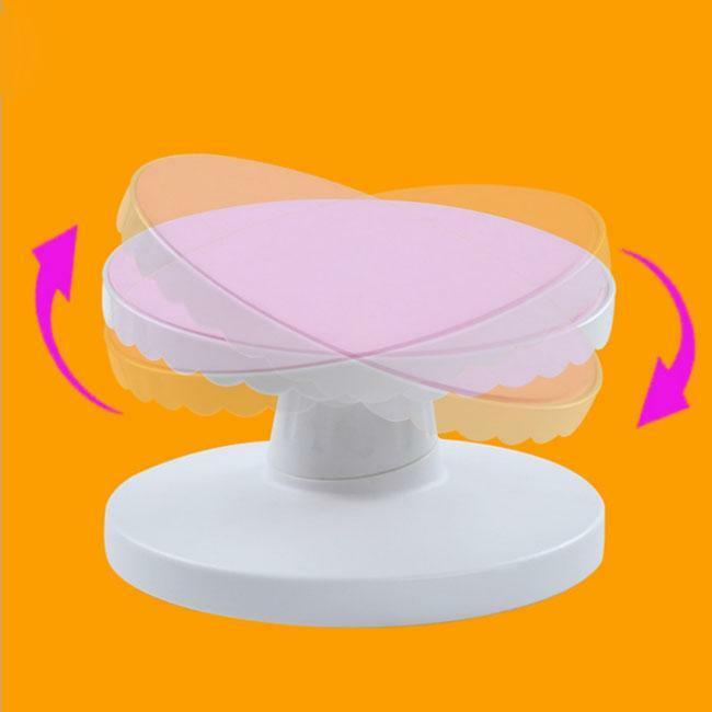 revolving cake stand turntable rotating cake modelling mould display 7084