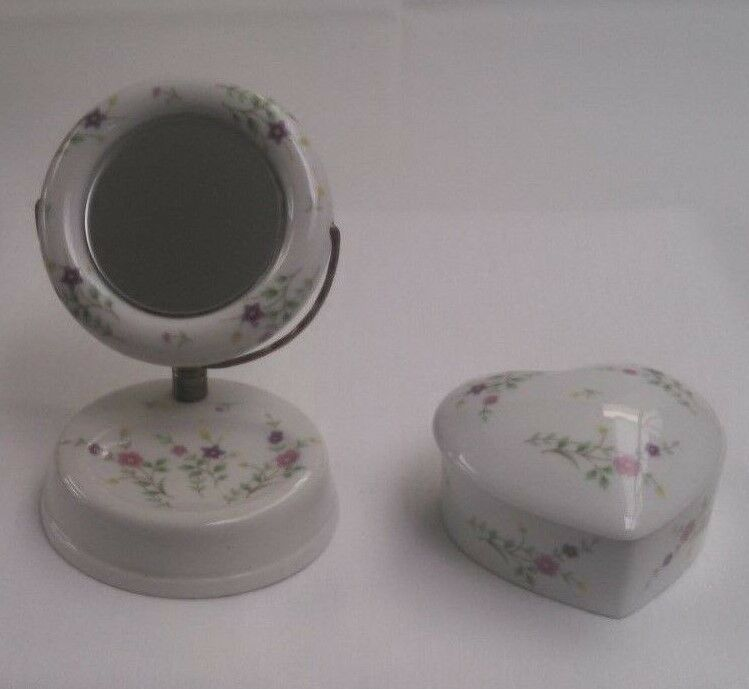 Vintage Mini Vanity Set For Little Girl Floral China 2 Pieces Japan | EBay