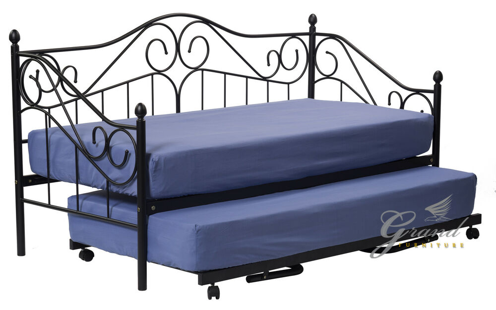 Joseph Day Bed With Trundle Black Metal Guest Beds 3ft