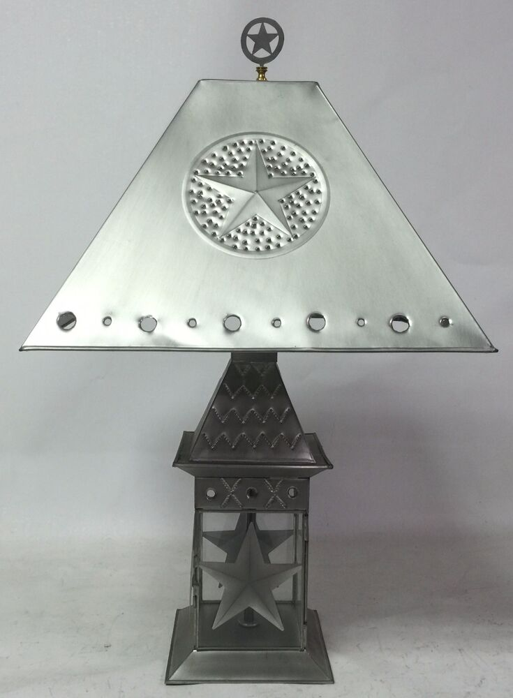 table lantern lamp with shade finial star tin rustic. Black Bedroom Furniture Sets. Home Design Ideas