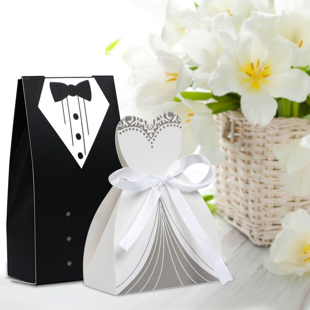 100pcs tuxedo dress groom bridal wedding party favor gift ribbon candy boxes ebay. Black Bedroom Furniture Sets. Home Design Ideas