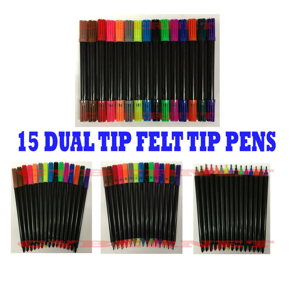 12 Dual Tip Double Ended Felt Tipped Pens Fine//Thin Thick Duel Colouring Set