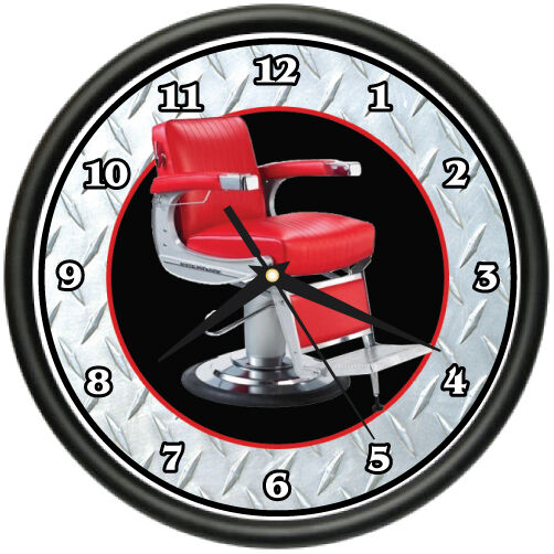 barber chair wall clock hair salon stylist shop gift ebay. Black Bedroom Furniture Sets. Home Design Ideas
