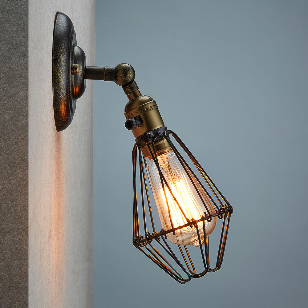 Industrial Lighting Wall Lights : Industrial Retro Vintage Wustic Warehouse Sconce Cafe Resto Wire Cage Wall Light eBay