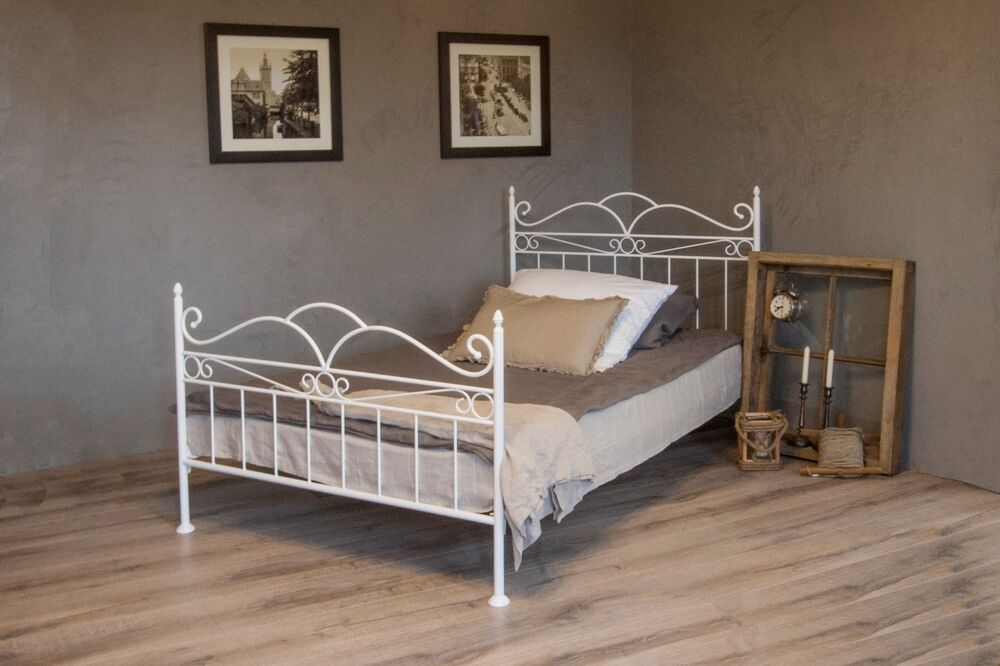 vintage flair metallbett 120x200 in weiss ecru oder. Black Bedroom Furniture Sets. Home Design Ideas