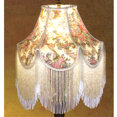 victorian gone with the wind floral fringed lamp shade ebay. Black Bedroom Furniture Sets. Home Design Ideas