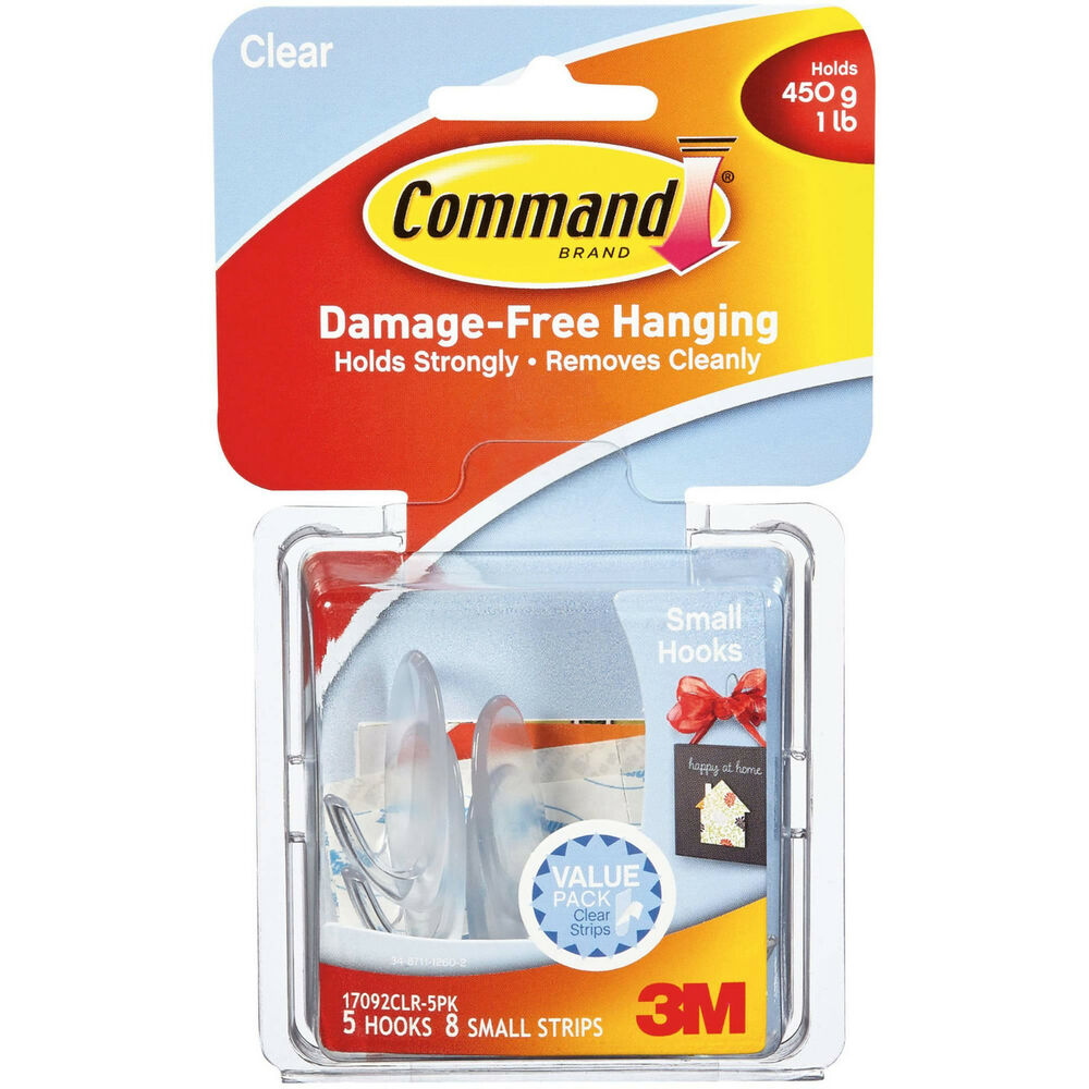 Command Small Hooks, Clear, 5-Hooks, 8-Strips BRAND NEW