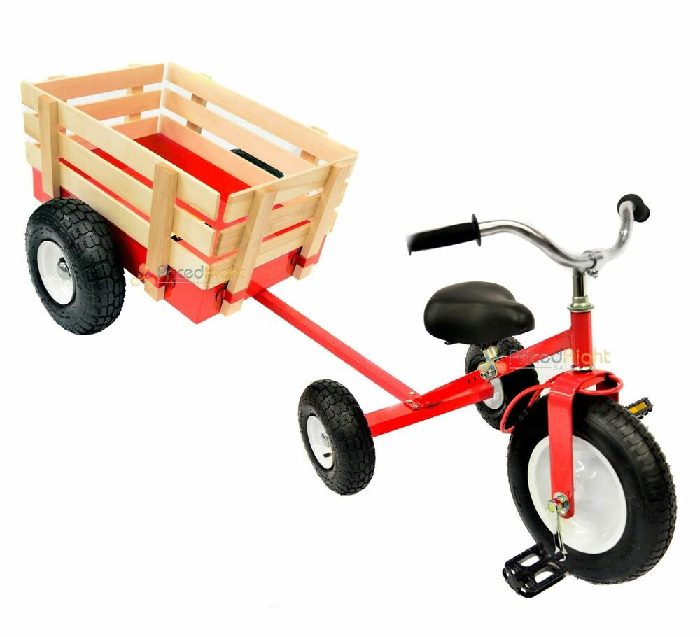 All Terrain Red Tricycle With Wagon Trike Set Pull Along