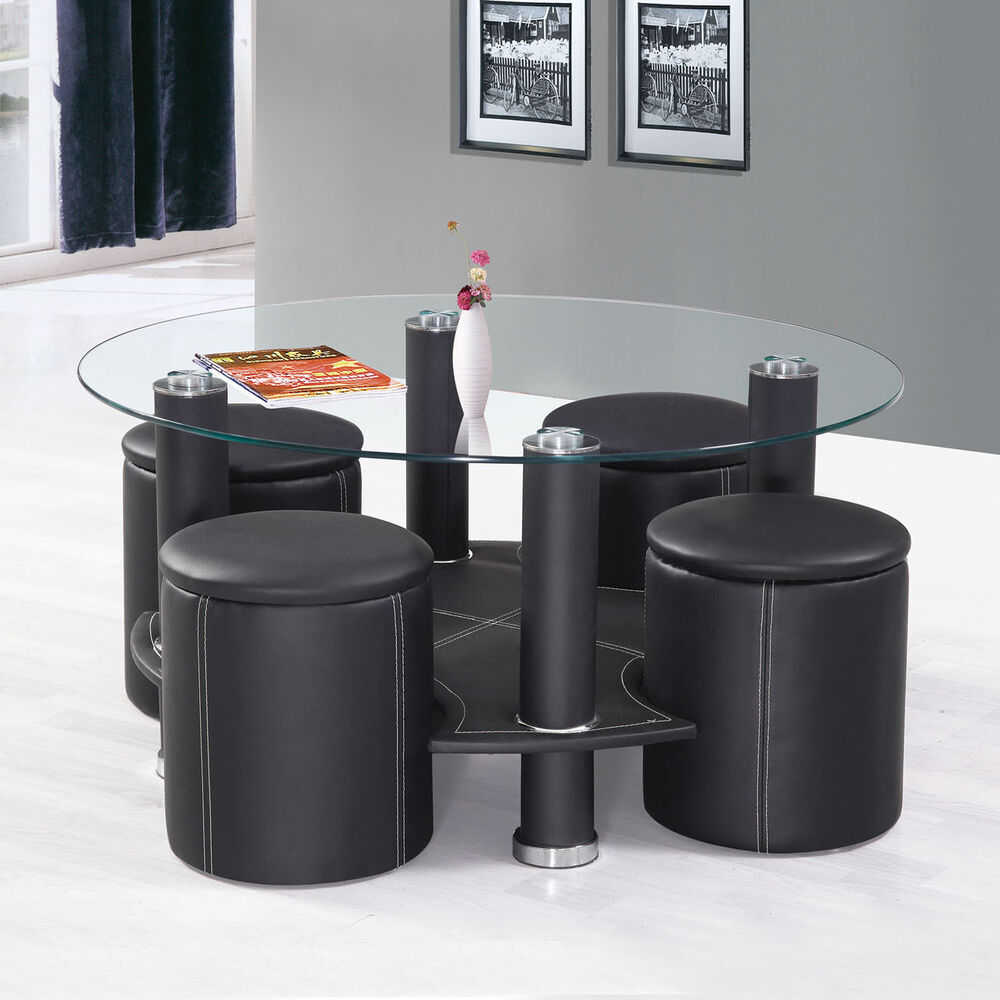 5PC Black Round Tempered Clear Glass Top PU Upholstery