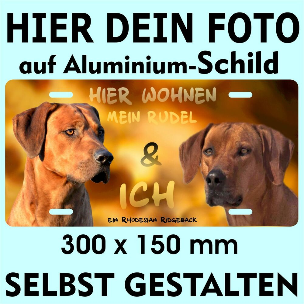 hundeschild rhodesian ridgeback eigenes foto bild text warnschild metallschild ebay. Black Bedroom Furniture Sets. Home Design Ideas